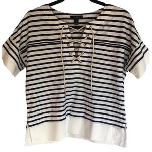 J. Crew Navy and White Striped Tie up Top Size XSm